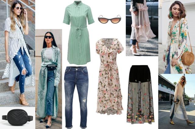 Ilustrácia ako vytvoriť outfit z letných šiat a klasických džínsov