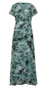 zelené vzorované maxi šaty s krátkym rukávom