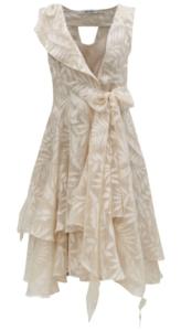 Zavinovacie krémové šaty s mašľou