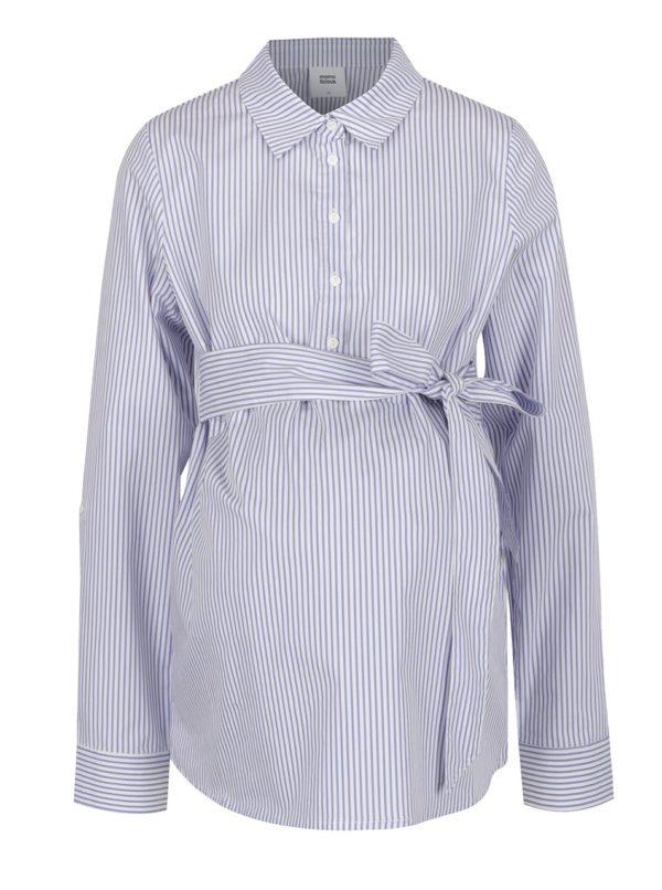 Modro-krémová pruhovaná tehotenská košeľa s mašľou Mama.licious Lenna