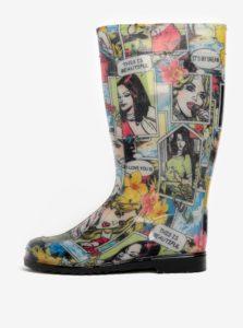 Čierno–krémové dámske gumáky s potlačou Oldcom Rain