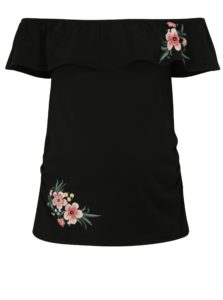 Čierne tehotenské tričko s odhalenými ramenami Dorothy Perkins Maternity