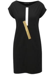 Čierne šaty s potlačou a vreckami Mikela da Luka