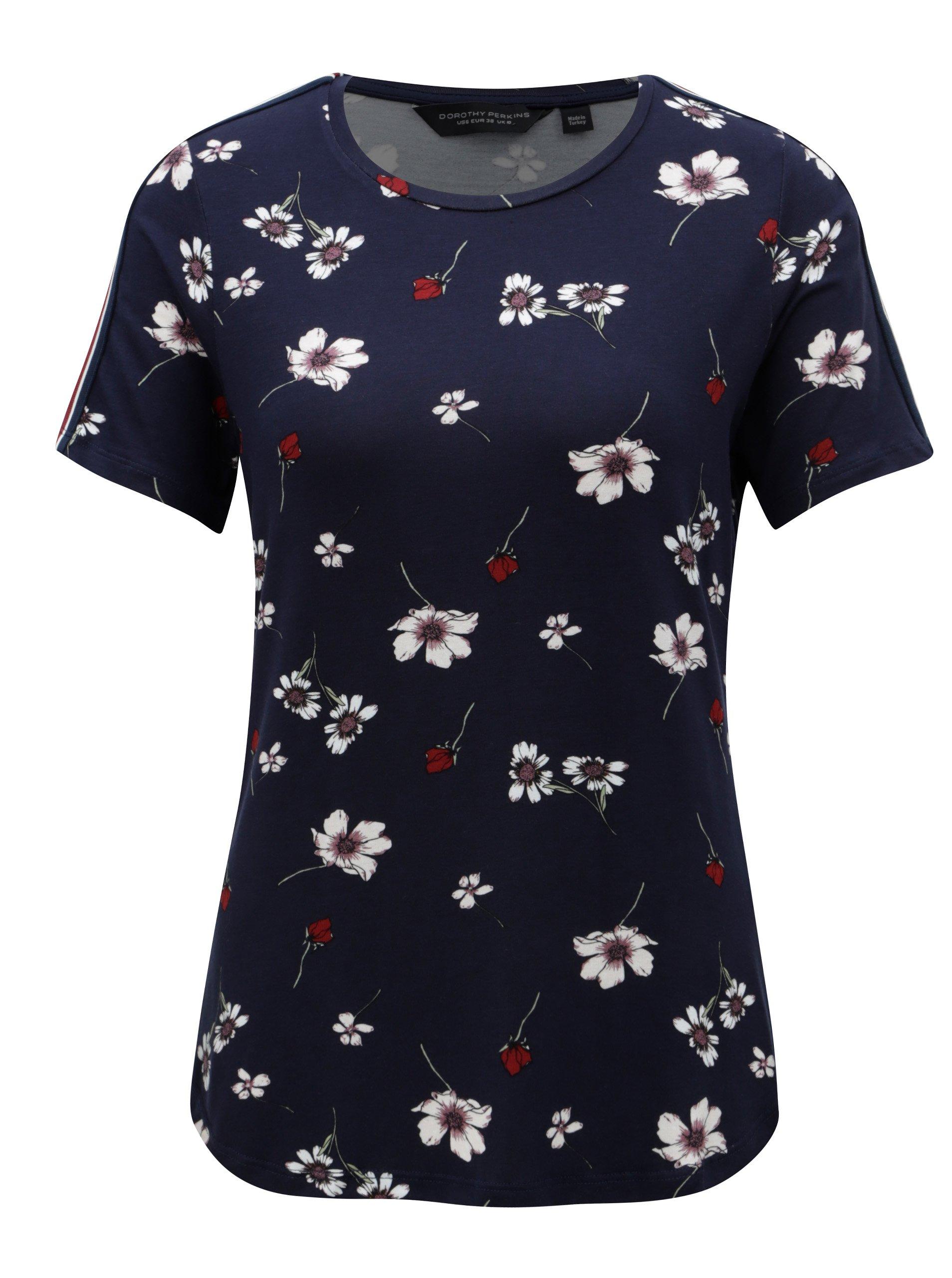 Tmavomodré kvetované tričko Dorothy Perkins  8b38e791209