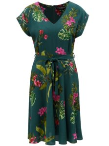 Tmavozelené kvetované šaty Dorothy Perkins