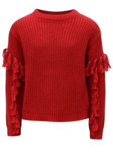 Červený dievčenský sveter so strapcami na rukávoch LIMITED by name it