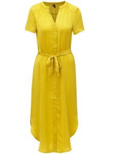 Žlté košeľové midišaty s opaskom VERO MODA Alba