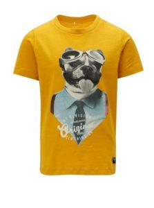 Žlté chlapčenské tričko s potlačou Name it Sripus