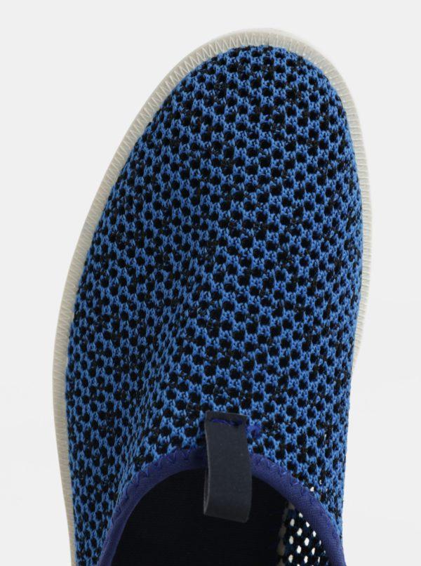 Modré pánske slip on s koženými detailmi SUMMER Oldcom