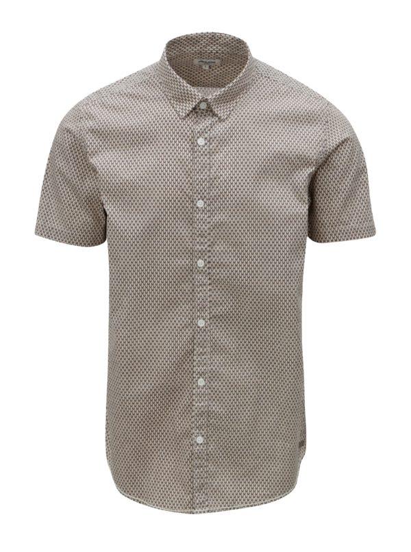 Béžová pánska vzorovaná košeľa s krátkym rukávom Garcia Jeans