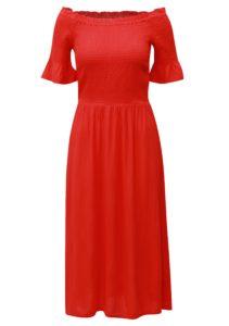 Červené  midišaty s odhalenými ramenami Dorothy Perkins