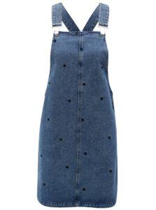 Modré rifľové šaty na traky s bodkami Dorothy Perkins