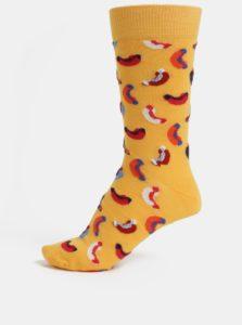 Žlté pánske vzorované ponožky Happy Socks Hotdog