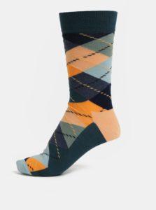 Oranžovo-zelené pánske vzorované ponožky Happy Socks Argyle