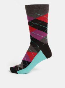 Vínovo-hnedé pánske vzorované ponožky Happy Socks Argyle