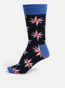 Modré pánske vzorované ponožky Happy Socks Nautical Star Sock