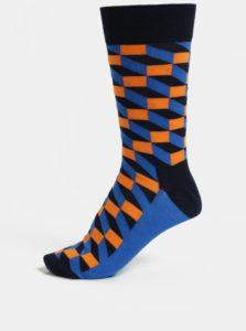 Oranžovo-modré pánske ponožky Happy Socks Filled Optic Sock