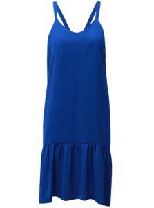 Modré šaty na ramienka s volánom v dolnej časti Moss Copenhagen