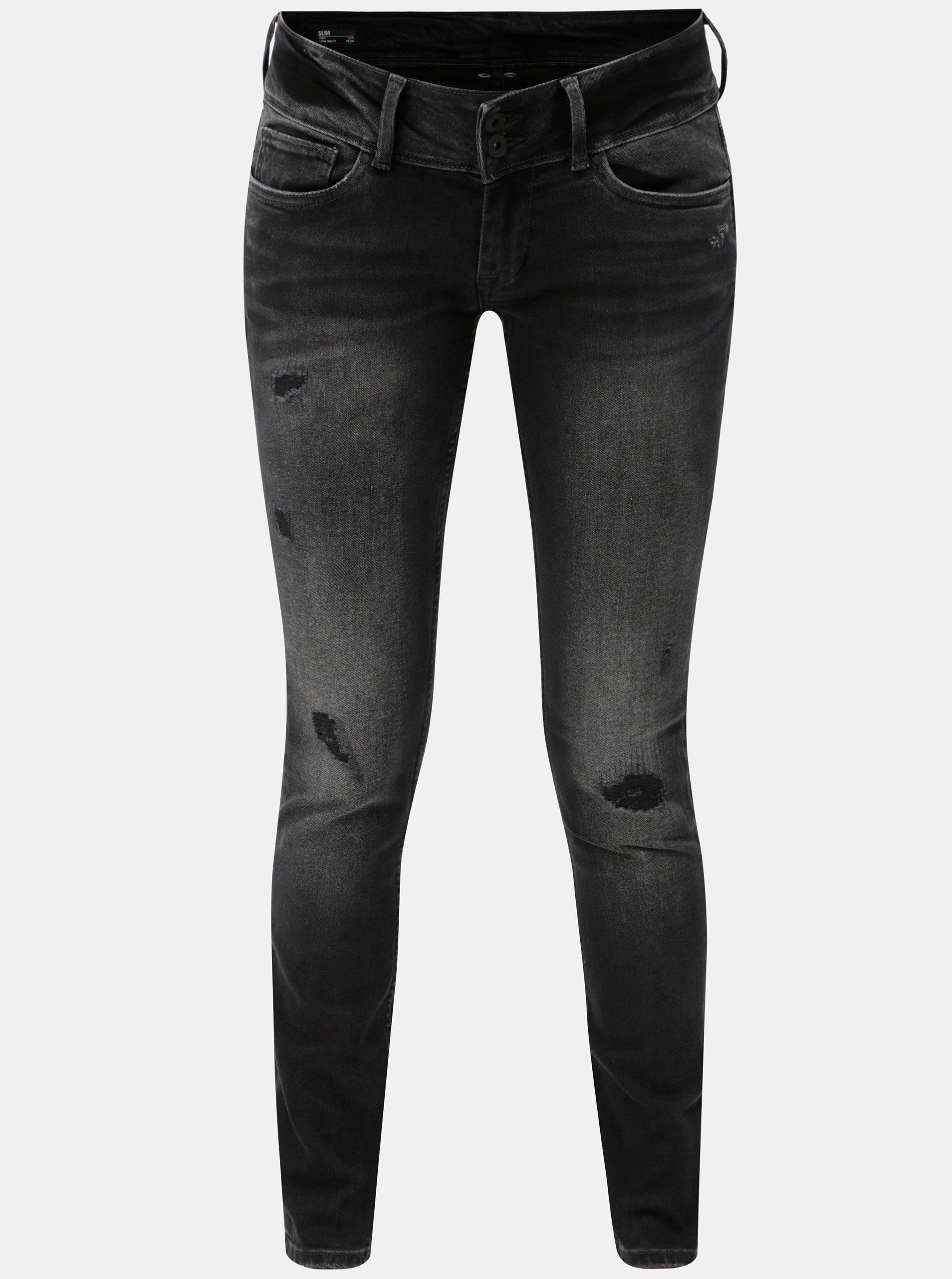 Čierne dámske slim rifle s potrhaným efektom Pepe Jeans  85a400b498