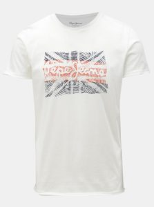 Biele pánske slim tričko s potlačou Pepe Jeans