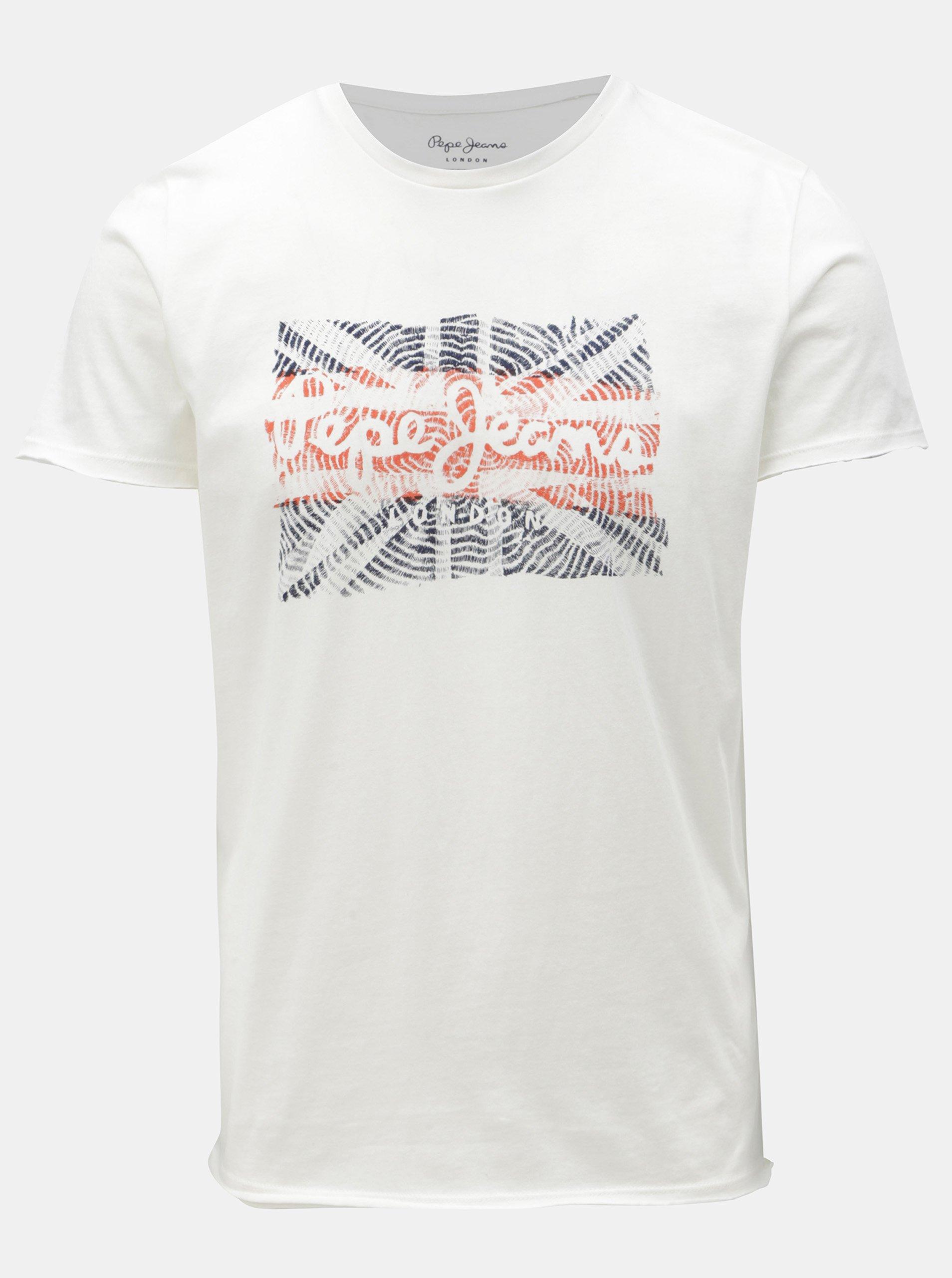 5e56d28d0ec2 Biele pánske slim tričko s potlačou Pepe Jeans