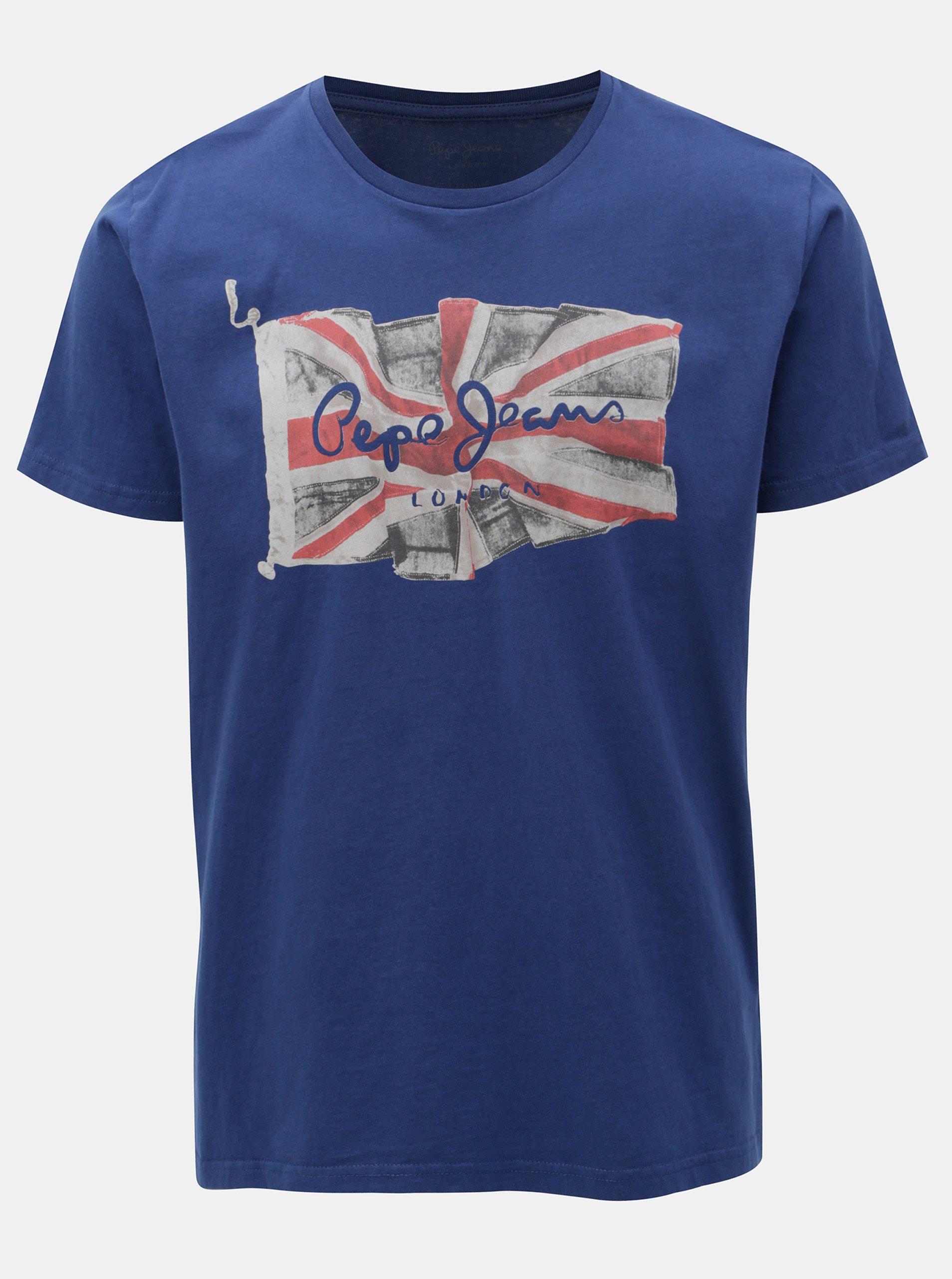 836b1f15ca48 Modré pánske regular tričko s potlačou Pepe Jeans