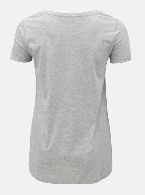 Sivé melírované tričko s výšivkou Zizzi