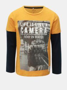 Žlto-modré chlapčenské tričko s dlhým rukávom Name it