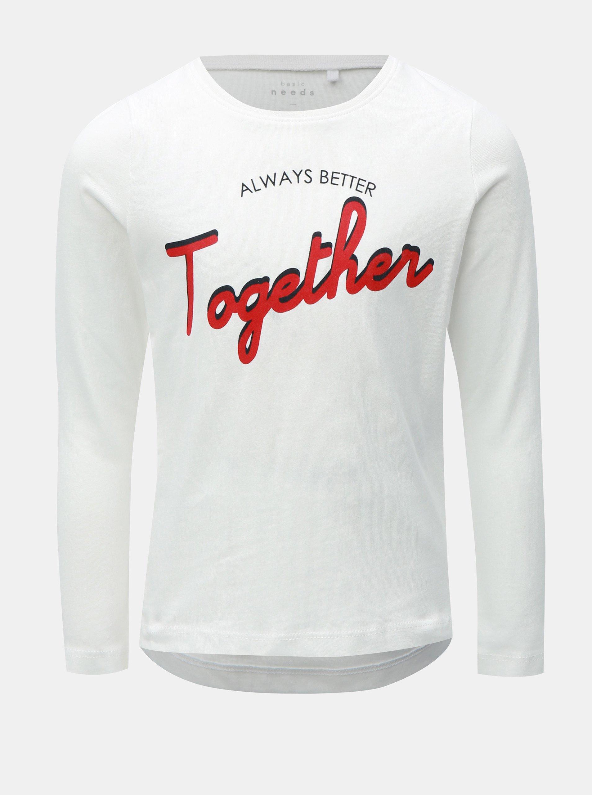 f8a4f8db769a Biele dievčenské tričko s dlhým rukávom Name it