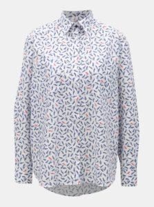 Modro-biela dámska voľná košeľa s motívom plodov javora VAVI