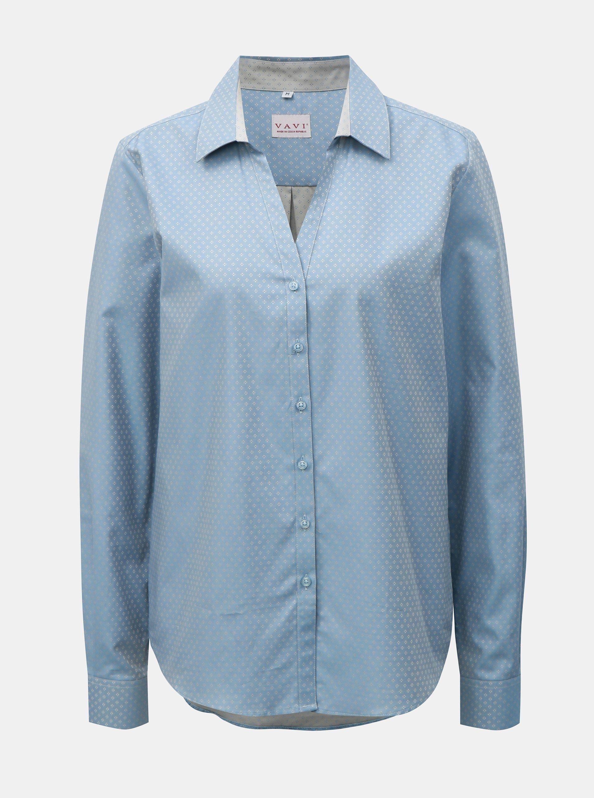 a0b3080e53 Svetlomodrá dámska košeľa s drobným vzorom VAVI