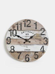 Bielo-hnedé nástenné hodiny Dakls
