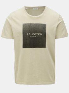 Béžové tričko s potlačou Selected Homme