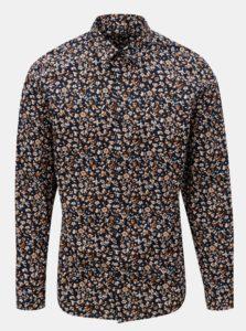 Tmavomodrá vzorovaná slim fit košeľa Selected Homme