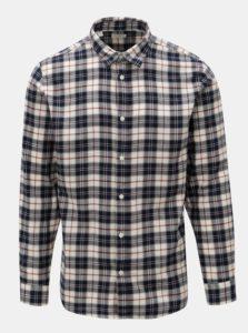 Krémovo-modrá kockovaná slim fit košeľa Selected Homme