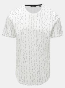 Biele tričko s nepravidelnou potlačou ONLY & SONS