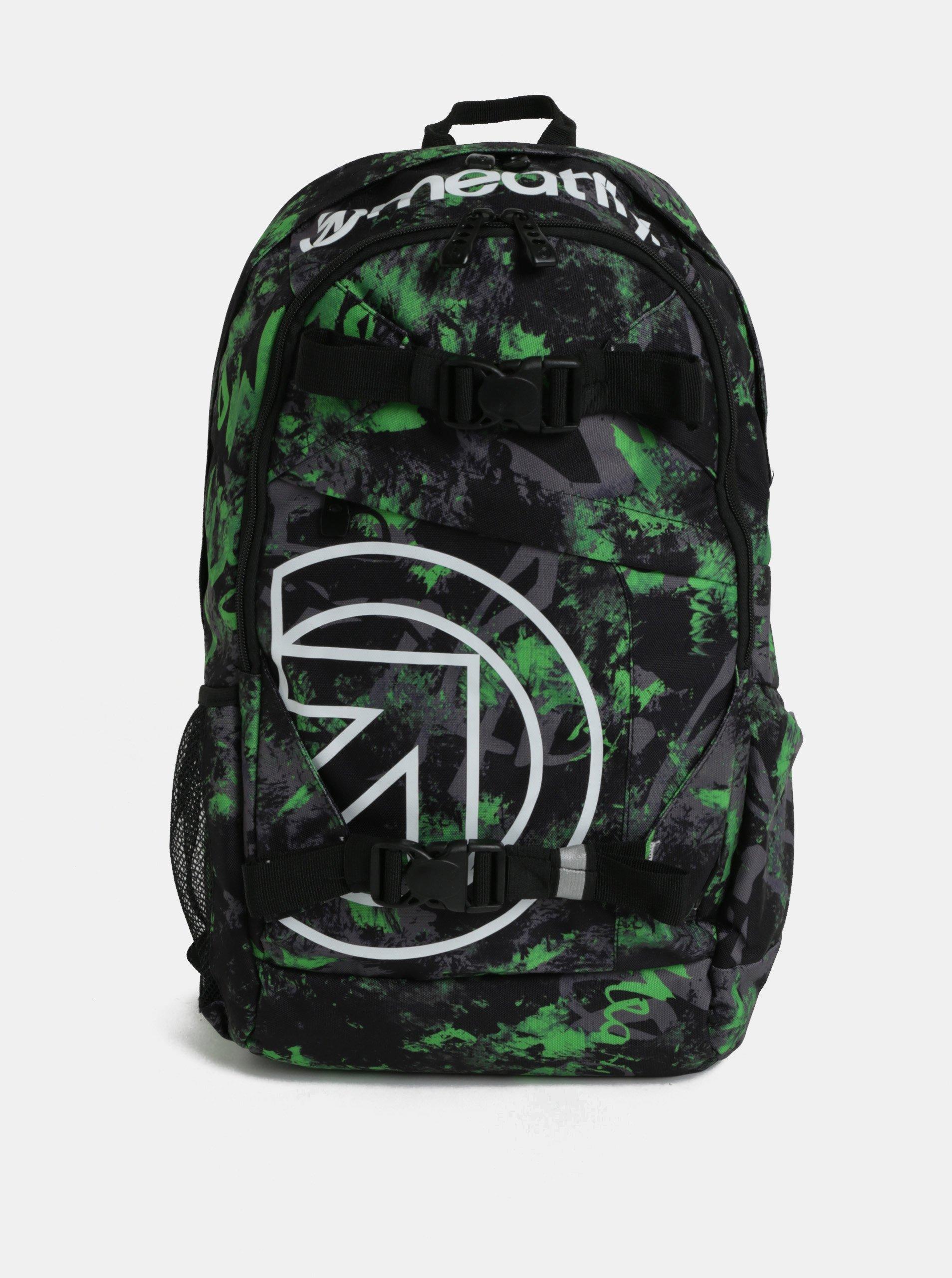 Zeleno-čierny pánsky kockovaný batoh Meatfly basejumper 3 20 l  ee6a3826cab