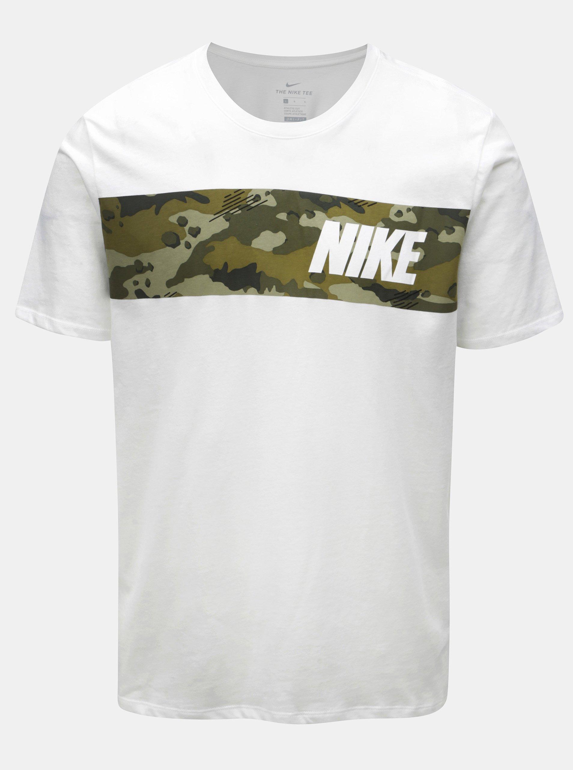 e7c8d5e3532e Biele pánske funkčné tričko Nike Block Camo