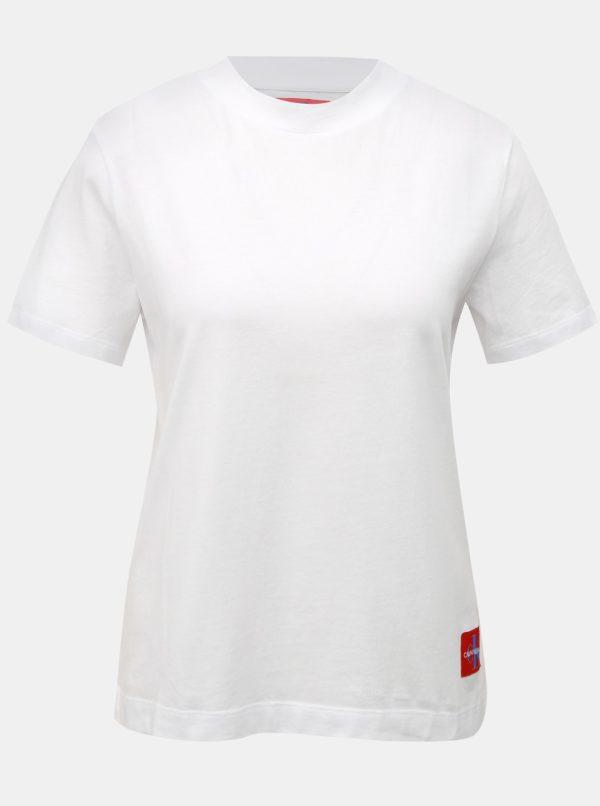 Biele dámske tričko s nášivkou Calvin Klein Jeans