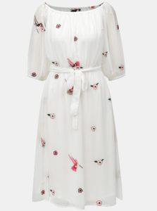 Biele šaty s výšivkou a opaskom Dorothy Perkins