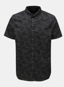 Tmavosivá košeľa s motívom listov Burton Menswear London