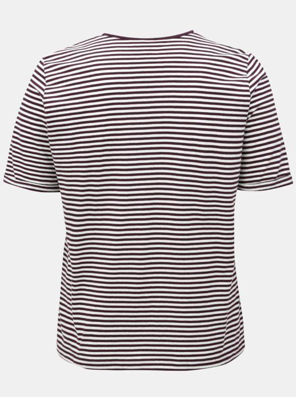 Krémovo-fialové pruhované regular tričko Ulla Popken