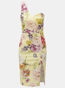 Žlté kvetované puzdrové šaty na jedno rameno MISSGUIDED