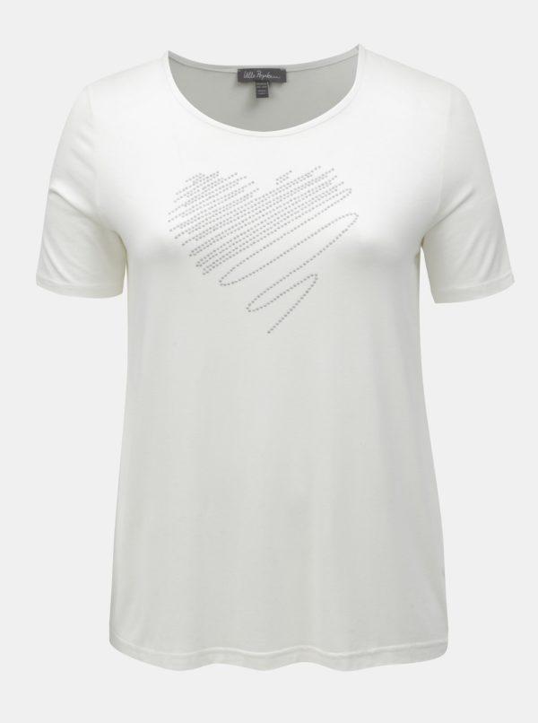 Krémové tričko s aplikáciou v tvare srdca Ulla Popken
