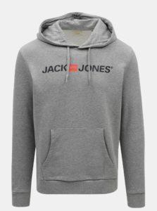 Sivá melírovaná mikina s potlačou a kapucňou Jack & Jones