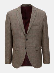 Hnedé kockované oblekové sako Selected Homme