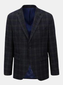Tmavomodré vlnené kockované oblekové sako Selected Homme