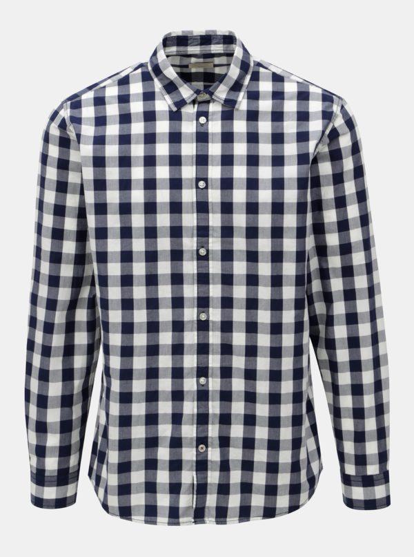 Bielo-modrá kockovaná košeľa s dlhým rukávom Jack & Jones Gingham