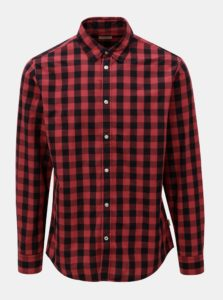 Čierno-červená károvaná košeľa s dlhým rukávom Jack & Jones Gingham
