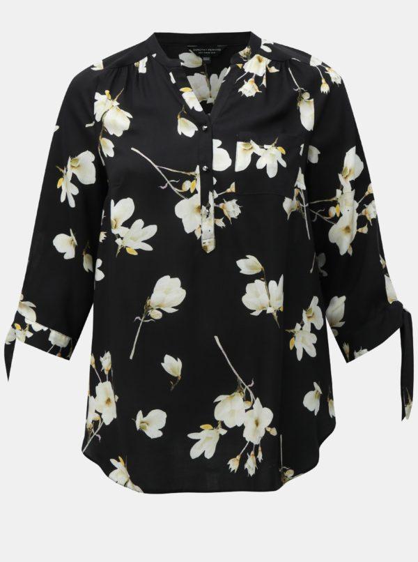 Čierna kvetovaná blúzka s 3/4 rukávmi Dorothy Perkins Curve